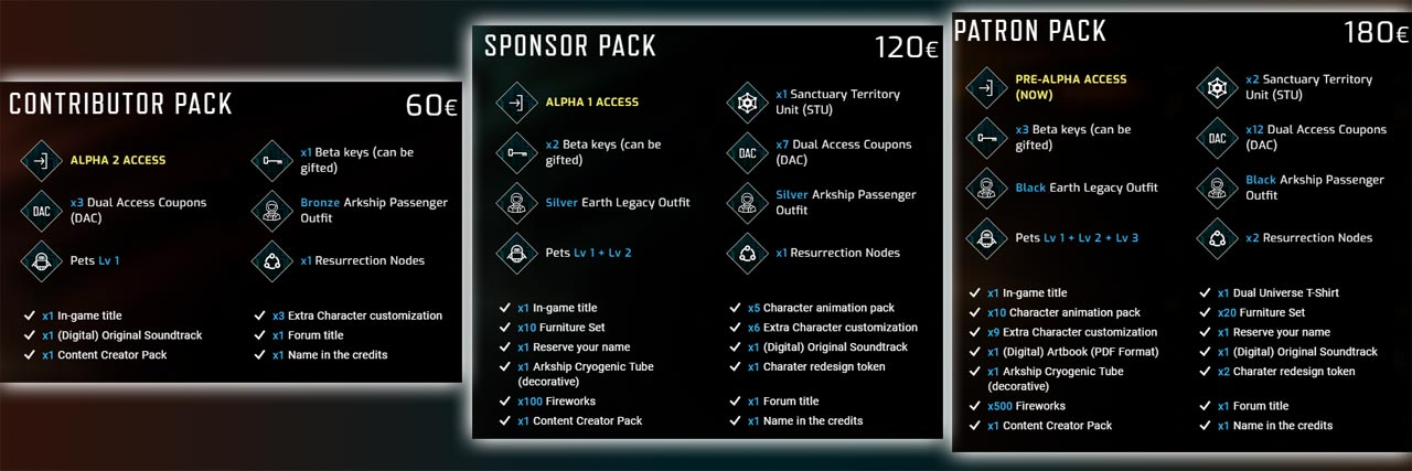 Dual Universe Supporter Packs