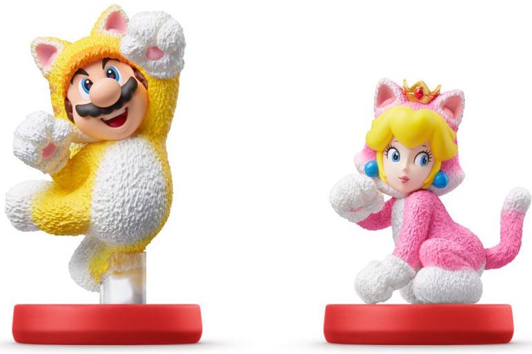 Katzen-Mario und Katzen-Peach amiibo Figur